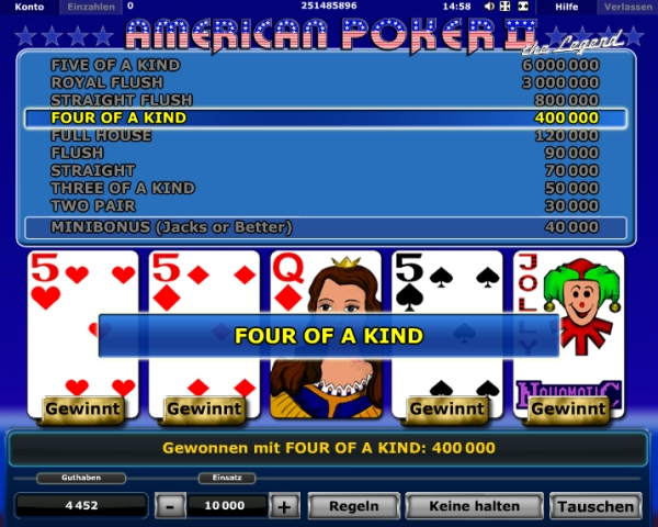 start online casino american pocker