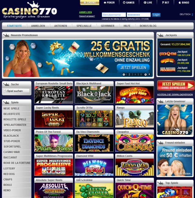 Bonuses and promotions at Casino770